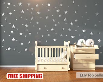 nursery wall decals wall stickers 120 silver metallic stars nursery wall stickers - Wallpaper House Decor