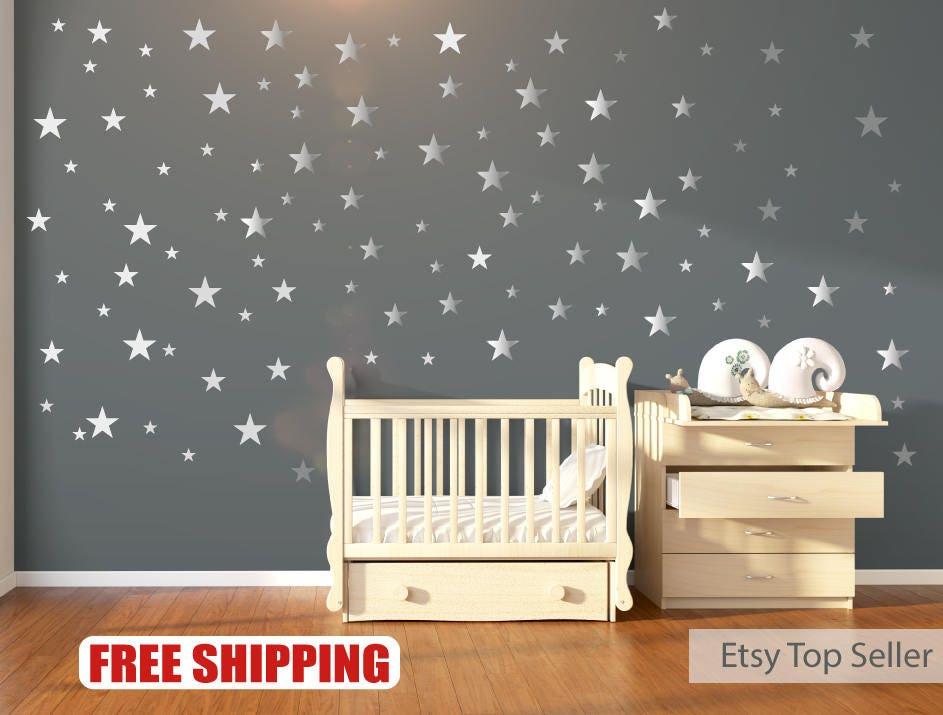 Nursery Wall Decals Wall Stickers Silver Metallic Stars - Nursery wall stickers