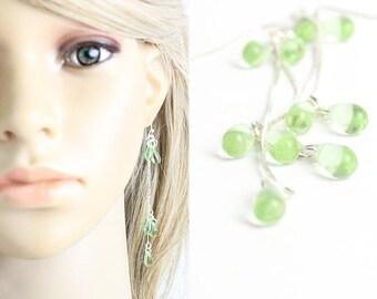 gifts bridesmaids mint earrings cluster earrings summer wedding earrings jewelry gift green earrings silver lime earrings gift daughter W143