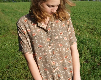 Vintage 80s Floral Printed Button Down Blouse