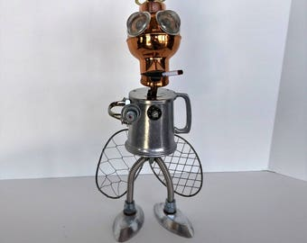 Found Object Robot Alien - Alien Insect - Steampunk sculpture - Upcycled Art - Mars Attack - Retro Science Fiction
