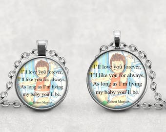 I'll Love You Forever Necklace, Book Jewelry, Robert Munsch, Childrens Book Pendant, Gift For Mom, Stillborn Baby Story, Rural Jewelry