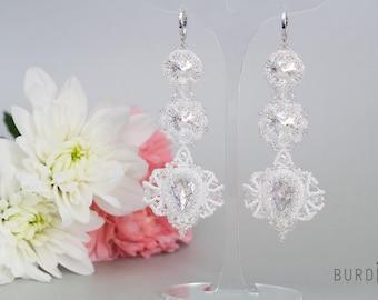 Long lace earrings Wedding long earrings White lace earrings Chandelier white beaded earrings Bridesmaid lightweight earrings vintage style