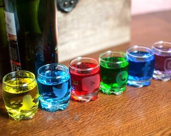 Social shot glass set / / Set of 6 etched shot glasses / / social network shot glass set