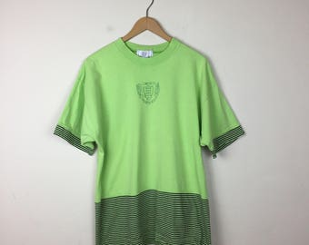 90s Lime Green T Shirt, Vintage JED Sportswear T Shirt, 80s Striped Shirt, Neon T Shirt