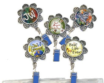JW Convention Badge Holder/magnetic/pin/JW gifts/JW.org/jw accessories/magnet/id name badge holder/flower pendant/antique silver/cabochon