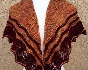 Hand Knit Lace edge Shawl: Beautiful Fall Colors!