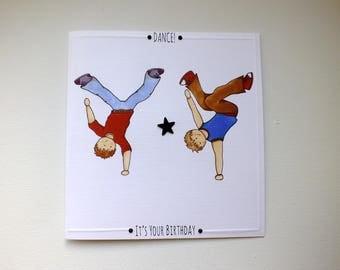 Dancer Birthday Card, Boys Birthday Card, Birthday Card for Boy, Breakdance Card, Birthday Dance Card, Dancer, Sale, Old Stock, Budget Card