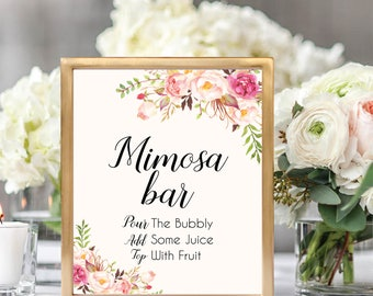 Mimosa Bar Sign, Mimosa Bar Sign Printable, Bubbly Bar Sign, Mimosa Table Sign, Printable Wedding Sign, Floral Wedding, #B512