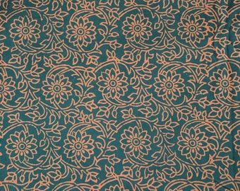 Cotton Fabric - Hand Block Printed - Quilting Fabric - Floral Pattern - price for one yard
