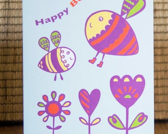 Bee Birthday Card - Bumblee Card, Birthday Card, Bee Card, Kid's Birthday Card, Children's Card, Retro Card, Save the Bees Card, FREE P&P!