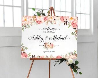 Bohemian Wedding Sign, Wedding Welcome Sign, Printable Wedding Sign, Welcome Wedding Sign, Floral Wedding Sign, wedding sign - US_WS0106