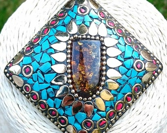 Handmade Tibetan Nepalese Style Mosaic Amulet Pendant Necklace + gift pouch, Brass Necklace, Tibetan Necklace, Mosaic Necklace, Nepalese