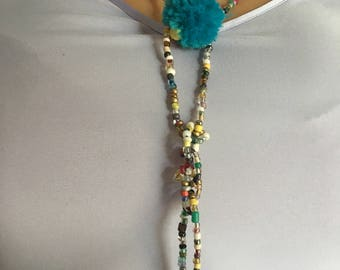 Bohemian Tassel and pompom glass bead necklace