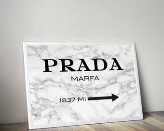 Prada, Prada Marble, Prada wall art, Fashion Print, prada marfa, prada marfa print, marble print, white marble print, fashion poster