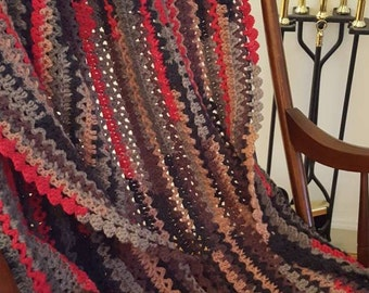 Cherry Cordial Crocheted Afghan, Red,Pink, Brown, Gray and Black Crochet Throw, Multi Color Blanket