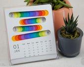 Colorful 2018 Calendar, Calendar 2018-2019, Desk Calendar, Minimalist, Planner, Calendar stand, Lines, Planner, Monthly Calendar, Motivation