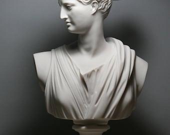 "ARTEMIS DIANA Bust Head Greek Roman Goddess Statue Sculpture 11.8"" -"