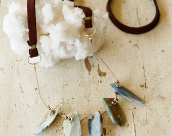 brown leather and blue kyanite necklace