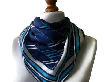 Vintage Womans Scarf, Blue scarf, summer scarf, square scarf, chic scarf, classic scarf, thin scarf, striped scarf