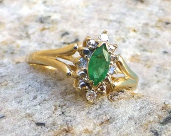 Marquise Cut Emerald and Diamond Engagement Ring, Vintage Natural Emerald Halo Ring