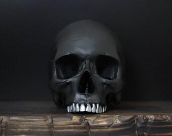 The Silversmith - Handmade Matte Black Full Scale Life Size Realistic Faux Human Skull Replica with Silver Teeth / Art / Ornament / Decor