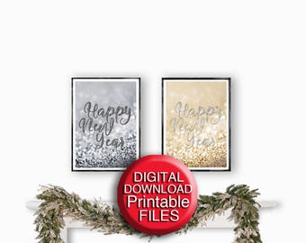 Happy New Year, Printable Set of 2 Prints, Gold, Silver, Black and White, 5x7 8x10 A4 A3 11x14 16x20