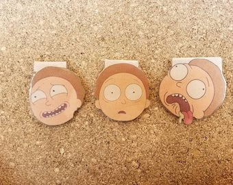 Morty Facial Expressions - Rick and Morty , Laminated Magnetic Bookmark, Book Accessories, Cartoons, BooksV Gift for him, Gift for her