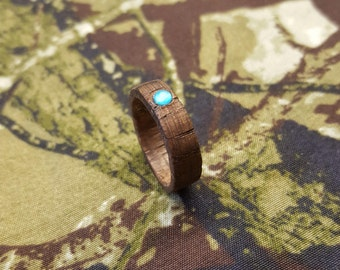 Oak Ring with Blue Jewel, Wood Rings, Mens Rings, Wedding Band, Wooden Engagement Ring, Wooden Ring, Gifts for her, Promise Ring, Rings