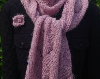 Cuddly soft alpaca mohair scarf in Puderton