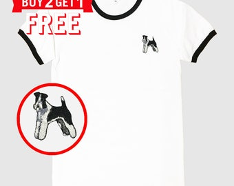 Schnauzer101 Dog Embroidered Ringer T-Shirt by 24PlanetsStudio