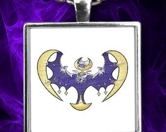 "LUNALA Bat Necklace Pokemon Legendary Rare Bat Flying Pocket Monster Pokemon on this 22"" Silver Necklace With Charm!"