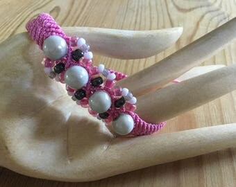 Sugar and Spice Micro macrame bracelet, pink, cream, girl. yoga, beach, jewellery, summer, original, handmade
