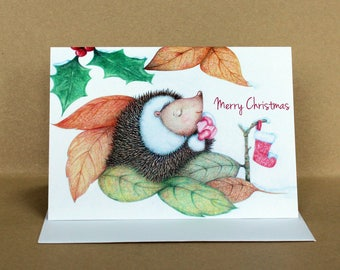 Sleepy Hedgehog Christmas Card