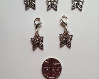 Set of 5 Tibetan Silver Butterfly Stitch Markers / Progress Keepers for Knitting or Crochet