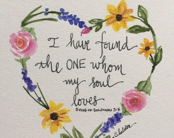 An Original Floral Heart Watercolor with Scripture, Song of Solomon 3:4