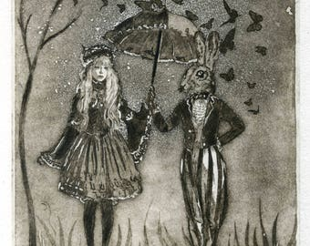Original etching. Walk with the March Hare. Walk with the March Hare.printmaking art. Alice's Adventures in March Wonderland.lievre