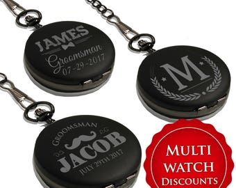 Custom Pocket Watch - Groomsmen Gift - Personalized Pocket Watch - Engraved Pocket Watch - Best Man Gift - Mens Pocket Watch - Black