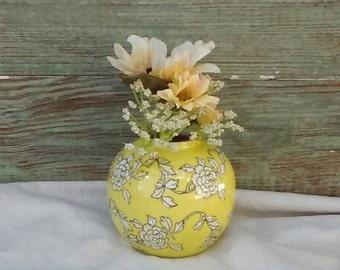 Round Porcelain Vase/ Vintage Jar/ Yellow Vase White Flowers/ Asian Ginger Jar
