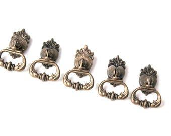 Set of 5 cabinet knobs, bronze furniture knobs, vintage knobs, Nightstand knobs, bedside knobs, Metal Door Handle-Rustic Handles-Retro knobs