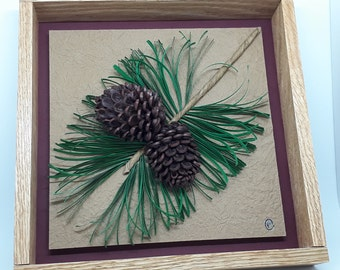Quilled Leaf and Seed Series - Framed Paper Artistry - Red Pine
