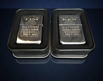 15 Engraved lighters - Custom engraved refillable lighter in tin box - Personalized Groomsmen gift - Laser engraved custom wedding gift set