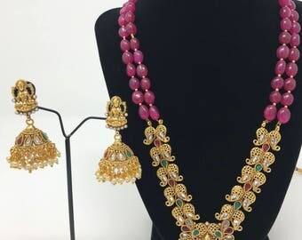 Indian Temple Jewelry Set - Lakshmi Mata Jewelry Set - Temple Jhumki Earrings - Indian Lakshmi Earrings - Bollywood Jewelry -