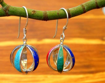Sterling Silver, Turquoise, Lapis, Coral and Jet Inlay Ball Earrings