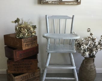 Vintage Wooden High Chair Custom Painted Gray And White High Chair Oak Wood High