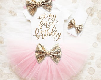 Baby Girl 1st Birthday Outfit   It's My 1st Birthday Girl Outfit   Cake Smash Outfit   Pink And Gold 1st Birthday Tutu Set   Baby Girl Shirt