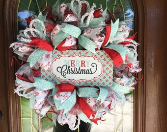 Christmas Retro Vintage Deco Mesh Holiday Wreath for Front Door