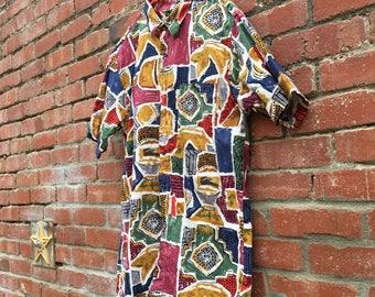 Grandpa Swag Shirt / 90s Abstract Print Colorful Cotton Vacation Shirt