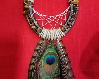 Peacock Feather with Natural Stones Dream Catcher