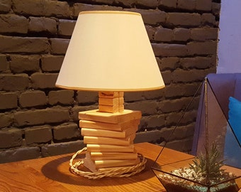 Wooden lamp handmade Rustic wood lamp Office lamp Geometric desk lamp Bedside lamp Table lamp Wooden gift Desk lamp wood